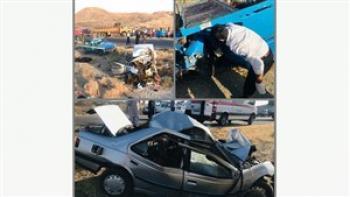 مرگ تمام سرنشینان وانت نیسان و پژو در تصادف جاده مشهد – سرخس + عکس