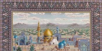 فرشی که به عشق امام رضا(ع) بافته شد + عکس