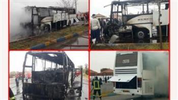 آتش سوزی گسترده اتوبوس مسافربری یزد – زاهدان