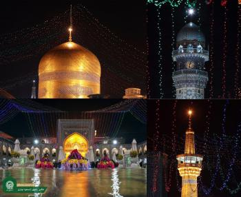 چراغانی حرم رضوی در شب میلاد امام حسن عسکری (ع) +عکس