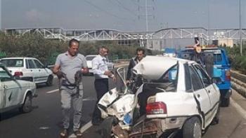 مرگ دردناک راننده پراید در تصادف با کامیون