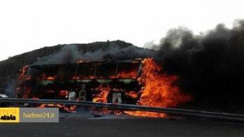 اتوبوس اسقاطی در مشهد سوخت