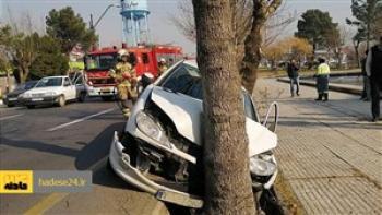 تصادف خونین پژو ۲۰۶ با درخت در بهشت زهرا