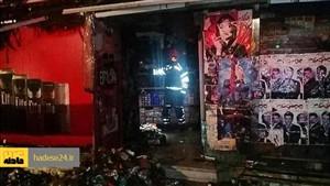 آتش سوزی مغازه ی خواربار فروشی در خیابان پاسداران