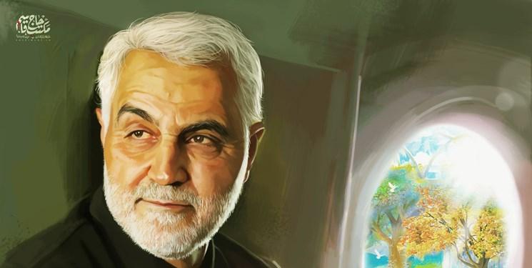 خلق نقاشی ۱۰۰ متری در سالگرد شهادت سپهبد سلیمانی