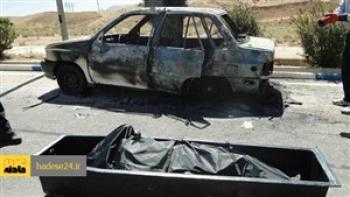 تصادف  در محور بم – ریگان / ۵ نفر در آتش سوختند