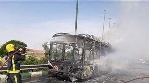 ترس  مسافران از آتش گرفتن اتوبوس مسافربری