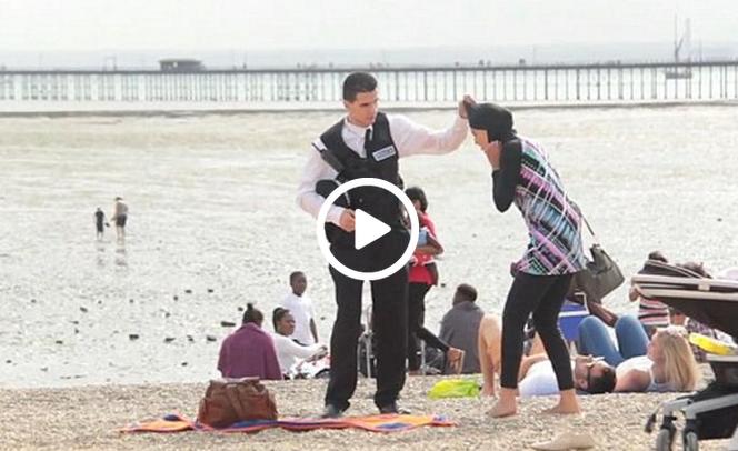 حمایت زنان انگلیسی از حجاب زن مسلمان در ساحل دریا