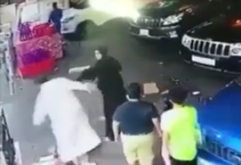 کتک کاری زن و مرد عربستانی وسط خیابان+فیلم