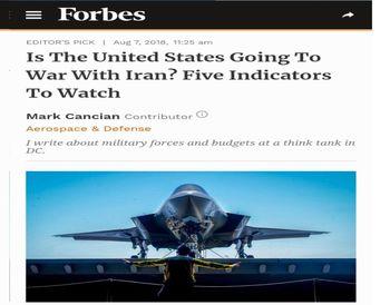 ۵ نشانه برای حمله نظامی آمریکا به ایران