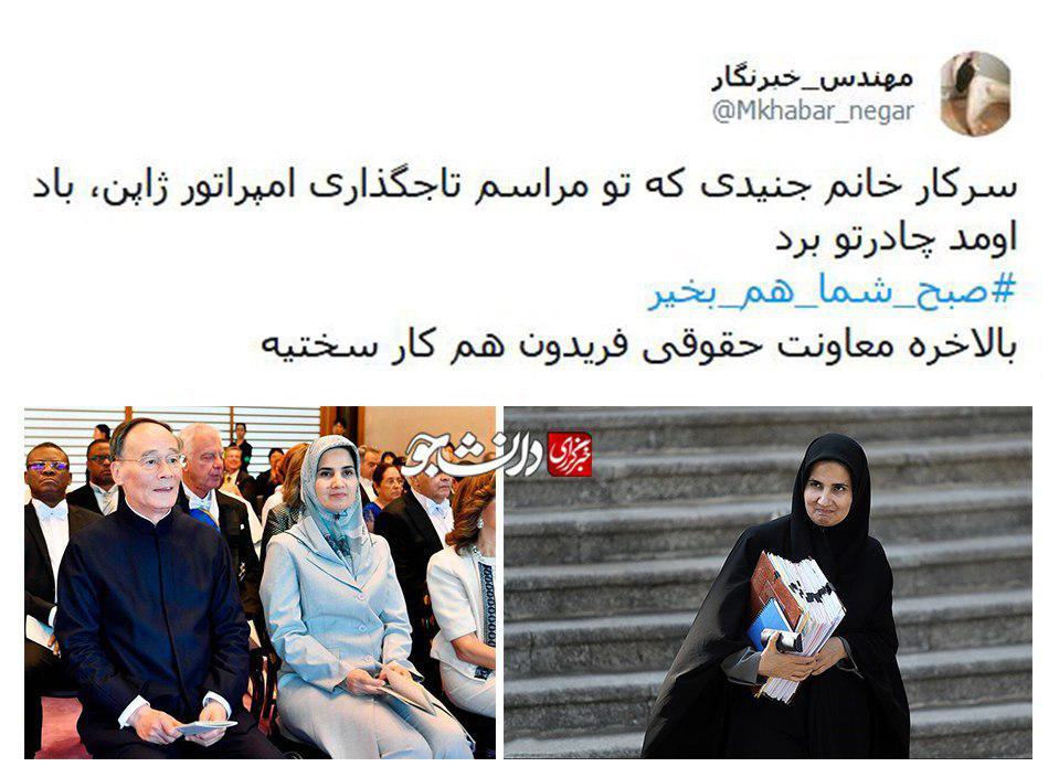 حجاب برتر معاون روحانی را باد برد +عکس