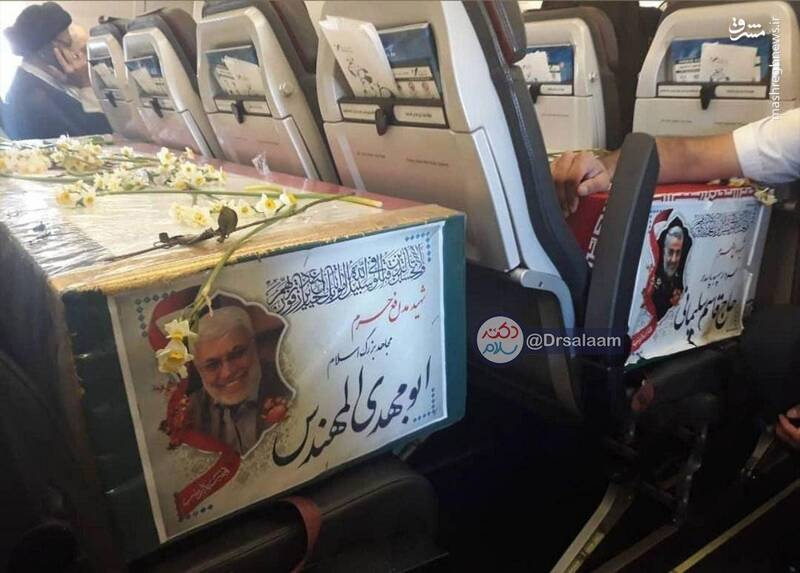 عکس/جدا نشدن ابو مهدی و سپهبد حاج قاسم سلیمانی حتی بعد از شهادت در پرواز هواپیما!