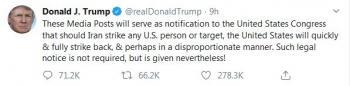 ترامپ ساعتی پیش از آغاز مراسم تشییع حاج قاسم دوباره توییتری تهدید کرد+عکس