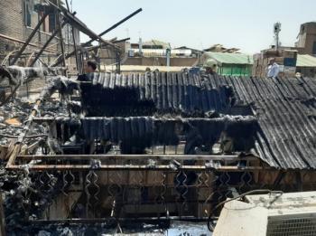 آتشسوزی در پاساژ کفاشی در بازار تهران